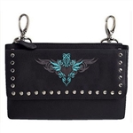 "Biker Leather ""Hip Purse Bag"" - Teal Tribal Design"