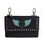 Biker Leather Hip Clip Belt Bag - Teal Heart