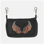 "Small Biker Leather ""Hip Purse"" Belt Bag - Angel Wings"