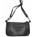 "Biker Leather ""Hip Purse"" - Angel Wings"