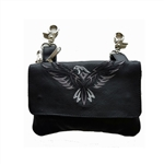 Biker Leather Hip Purse - Silver Eagle Design
