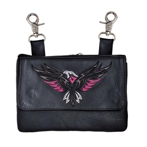 Pink Eagle Biker Leather Hip Purse Clip On Riding Bag