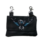 "Biker Leather ""Hip Purse"" - Teal Eagle Design"