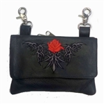 "Biker Leather ""Hip Purse"" - Red Tribal Rose"