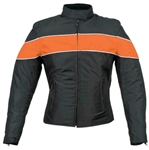 Textile Motorcycle Jacket for Women - Orange Stripe