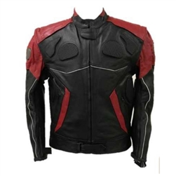 Red & Black Leather Motorcycle Racer Jacket: Armor