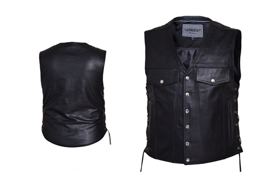 5f53cbe06 Concealed Carry Cowhide Leather Motorcycle Vest
