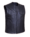 Collarless Leather Motorcycle Vests: Leather King