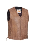 Brown Leather Biker Vest for Men