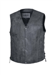 Tombstone Gray Leather Motorcycle Vest for Men