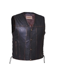 Distressed Dark Brown Men's Leather Vest