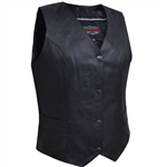 Women's Black Leather Classic Club Vests - Concealed Carry