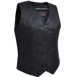 Women's Black Leather Classic Club Vest - V-Neck Concealed Carry