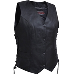 Women's Leather Classic Vests - Side Lace