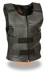 Women's Leather Motorcycle Vest Black Bullet Proof Style
