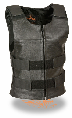 Women S Leather Bullet Proof Style Motorcycle Vests Zip Up