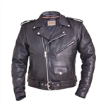 Classic Leather Motorcycle Jacket With Removable Belt
