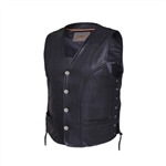 Premium Cowhide Leather Motorcycle Vest: Braided