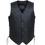 Premium Men's Leather Motorcycle Vest: Cowhide, Side Lace