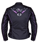 Women's Textile Motorcycle Jacket, Purple Eagle
