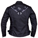 Women's Textile Motorcycle Jacket, Gray Eagle