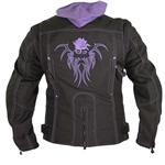 Women's Rose Textile Motorcycle Jacket With Hoodie