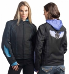 Women's Textile Motorcycle Jackets: Purple Design