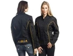 Lightweight Womens Textile Motorcycle Jacket: Embroidered Rose