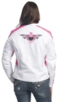 Womens White & Pink Motorcycle Jacket