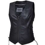 Women's Zip Up Leather Motorcycle Vest