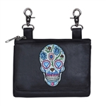 Biker Leather Hip Clip Belt Bag - Colorful Flower Sugar Skull