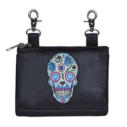 Black Leather Hip Clip Belt Bag Purse - Colorful Flower Sugar Skull
