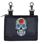 Biker Leather Hip Clip Belt Bag - Colorful Rose Sugar Skull