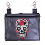 Biker Leather Hip Clip Belt Bag - Rose Sugar Skull