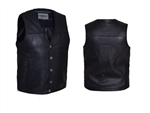 Cowhide Mens Leather Motorcycle Vest for Bikers