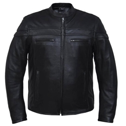 Men's Leather Motorcycle Jacket - Black Racer, Euro Collar