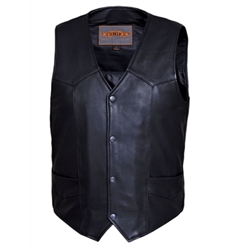 Cowhide Mens Leather Motorcycle Vest: Biker Club