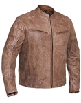 Biker Distressed Brown Leather Motorcycle Jacket