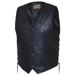 Side Lace Mens Leather Cowhide Motorcycle Vest