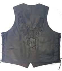 Brown Leather Motorcycle Vests: USA Eagle