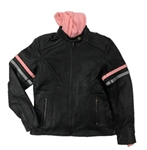 Women's Leather Motorcycle Jacket with Pink Hoodie