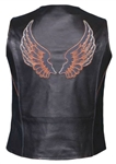 Women's Leather Motorcycle Vest - Embroidered WIngs