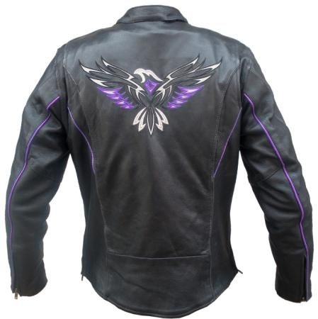 Purple Eagle Women's Leather Motorcycle Jacket - Leather Bound Online