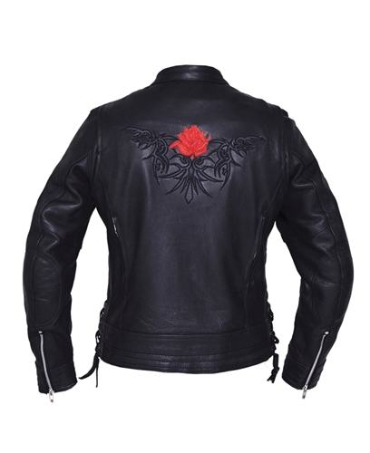 Red Tribal Rose Ladies Leather Motorcycle Jacket Free