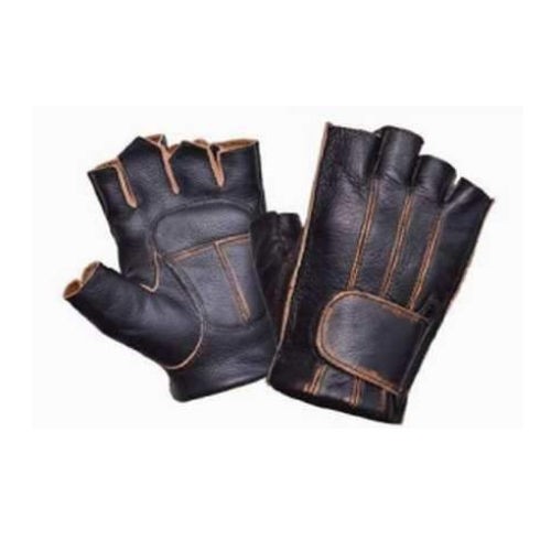 Distressed Brown Fingerless Leather Motorcycle Gloves