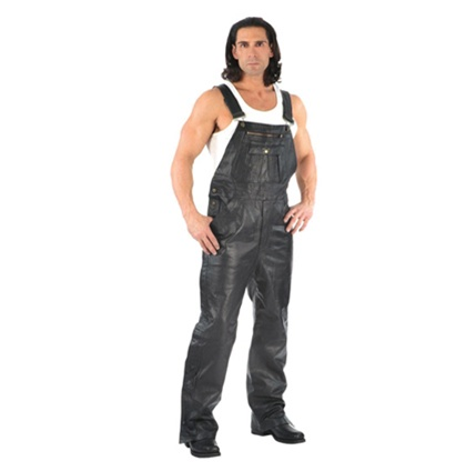 Men's Leather Overalls Bib Pants - Biker Style