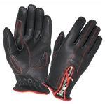 Women's Leather Motorcycle Gloves - Red Trim