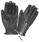 Women's Leather Motorcycle Gloves - Purple Trim