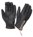 Women's Leather Motorcycle Gloves - Pink Trim