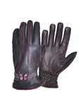 Pink Butterfly Women's Leather Motorcycle Gloves